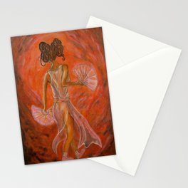Fan dancing Geisha Stationery Cards