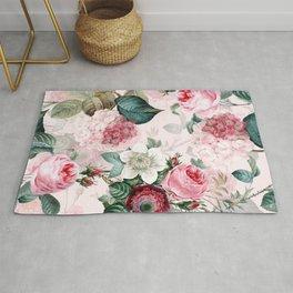Vintage & Shabby Chic - Summer Blush Roses Flower Garden Rug