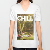 chill V-neck T-shirts featuring Chill by eARTh