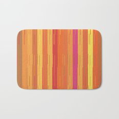 Orange and Yellow Stripes and Lines Abstract Bath Mat