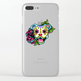 Smiling Pit Bull in White - Day of the Dead Pitbull Sugar Skull Clear iPhone Case