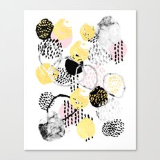 Amalia - gold abstract black and white glitter foil art print texture ink brushstroke modern minimal Canvas Print