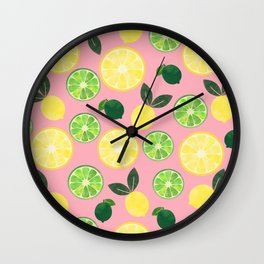 Lemon Lime in Pink Wall Clock