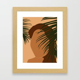 Tropical Reverie - Modern Minimal Illustration 05 - Girl with palm leaf - Tropical Aesthetic - Brown Framed Art Print