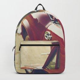 Sportscar, supercar, windscreen details, red triumph spitfire, english car Backpack