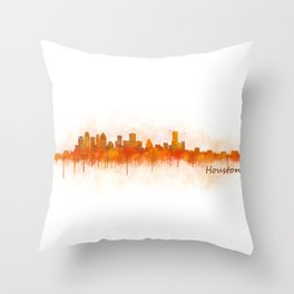 Houston City Skyline Hq v3 Throw Pillow