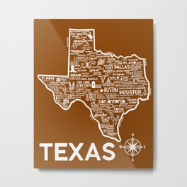 Texas Map Metal Print