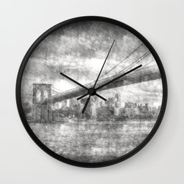 Brooklyn Bridge New York Vintage Wall Clock
