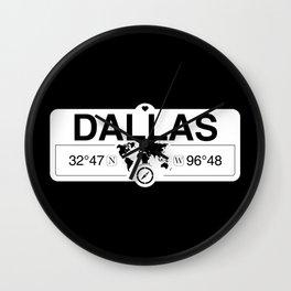 Dallas Texas Map GPS Coordinates Artwork with Compass Wall Clock