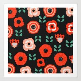 Midnight floral decor Art Print