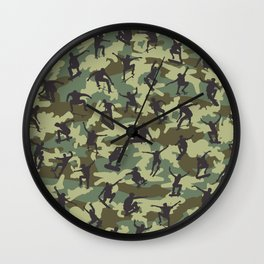 Skater Camo WOODLAND Wall Clock