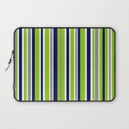 Lime Green Bright Navy Blue Gray and White Vertical Stripes Pattern Laptop Sleeve