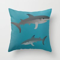sharks Throw Pillows featuring Sharks by Bwiselizzy