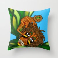 jojo Throw Pillows featuring Congo JoJo by BohemianBound