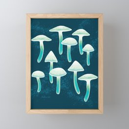 Magical Glowing Night Mushrooms, Hand-painted Watercolor Mushroom Pattern in Teal Green, Mint, White and Cobalt Blue Colors Framed Mini Art Print