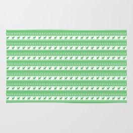 Green Reindeer Christmas Pattern Rug
