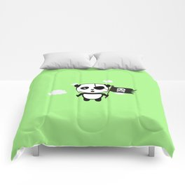 Panda Pirate with Flag T-Shirt for all Ages Da19o Comforters