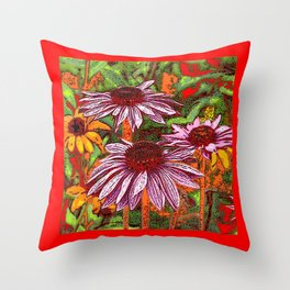 COLORFUL ECHINACEA IN INK RED FLORAL GARDEN Throw Pillow