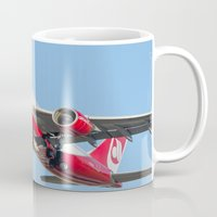 airplanes Mugs featuring Air Berlin Airbus A330-223 Take-off Miami airplanes USA D-ALPJ by Yan David