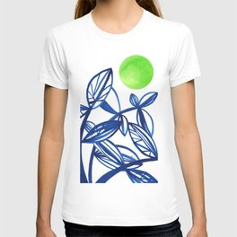 Navy blue and lime green abstract leaves T-shirt
