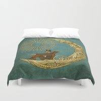 humor Duvet Covers featuring Moon Travel by Eric Fan