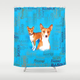 Basenji dogs  with Word cloud Pattern Shower Curtain