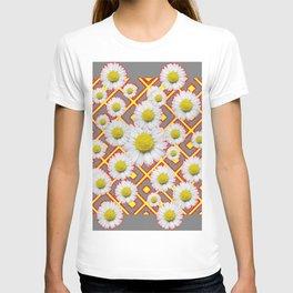 Shasta Daisies Red Pattern Art Grey abstract T-shirt