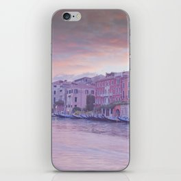 Venice in pastel, pink soft fluffy clouds over Venice, Italy iPhone Skin