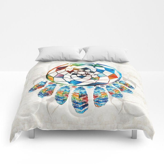 Dream Catcher Comforter Extraordinary Native American Colorful Dream Catcher By Sharon Cummings Comforters