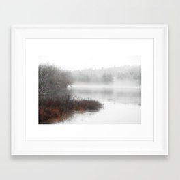 Foggy lake on a winter day - Nature Photography Framed Art Print