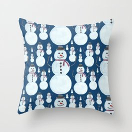 Cute Frosty Blue Snowman Watercolor Pattern Throw Pillow