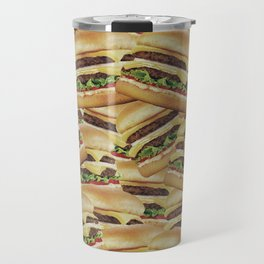 Vintage Cheeseburger Pile Print Travel Mug
