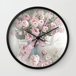Pastel Roses In Vase - Shabby Chic Roses Pink Aqua Floral Print Home Decor Wall Clock