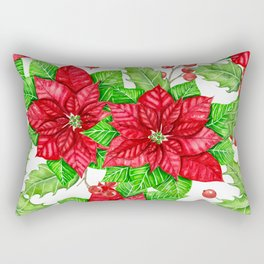 Poinsettia and holly berry watercolor Christmas pattern Rectangular Pillow