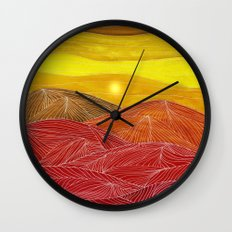Lines in the mountains IX Wall Clock