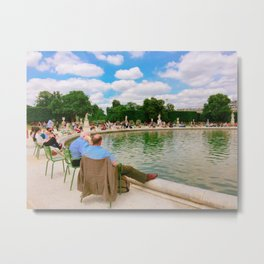 People in parks in Paris Metal Print