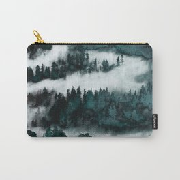 Foggy Forest Fun - Turquoise Mountains Carry-All Pouch