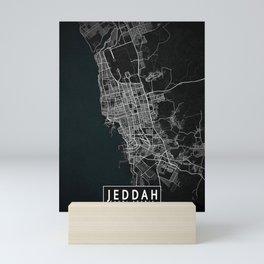 Jeddah City Map of Saudi Arabia - Dark Mini Art Print