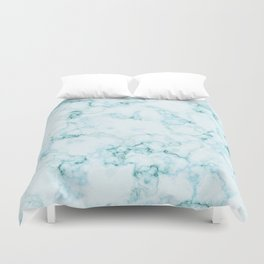 Aqua marine and white faux marble Duvet Cover