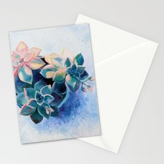 Pastel Succulents - an oil painting on canvas Stationery Cards