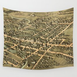 Vintage Pictorial Map of Pontiac Michigan (1867) Wall Tapestry
