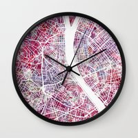 budapest Wall Clocks featuring Budapest map by MapMapMaps.Watercolors