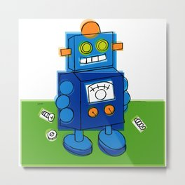 Happy Robot Metal Print