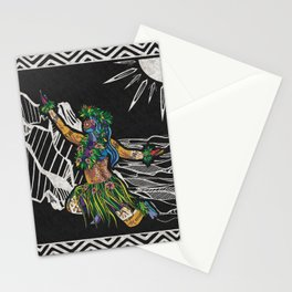 Polynesian Hula Dancer Tapa Print Stationery Cards