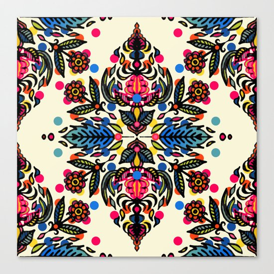 Bright Folk Art Pattern - hot pink, orange, blue & green Canvas Print