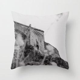 edinburgh through wildflowers | b+w Throw Pillow