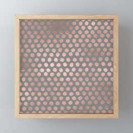 Simple Hand Painted Rosegold polkadots on gray background Framed Mini Art Print
