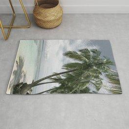 Tropical Palm Tree Beach Rug