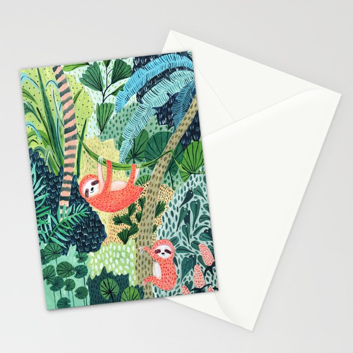 Jungle Sloth Family Stationery Cards