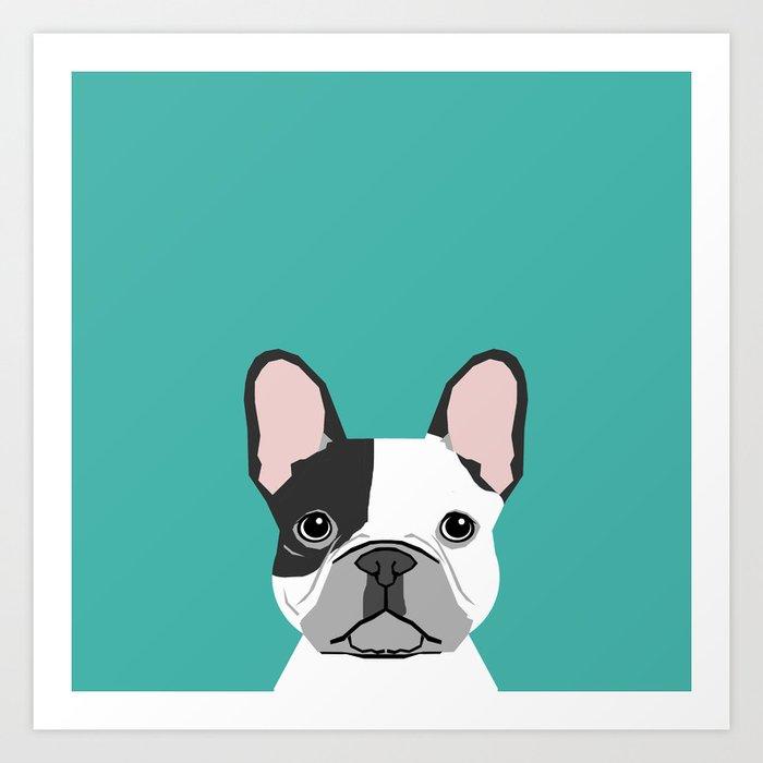French Bulldog black and white peeking dog head funny dog gifts frenchies must haves Kunstdrucke